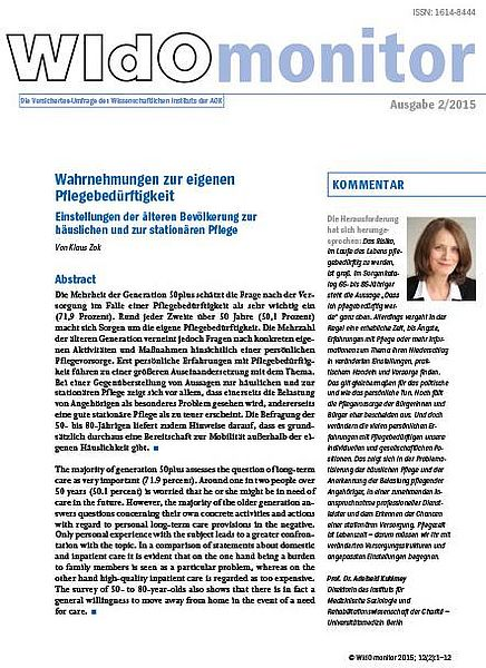 Cover der WIdO-Publikation WIdOmonitor 2/2015